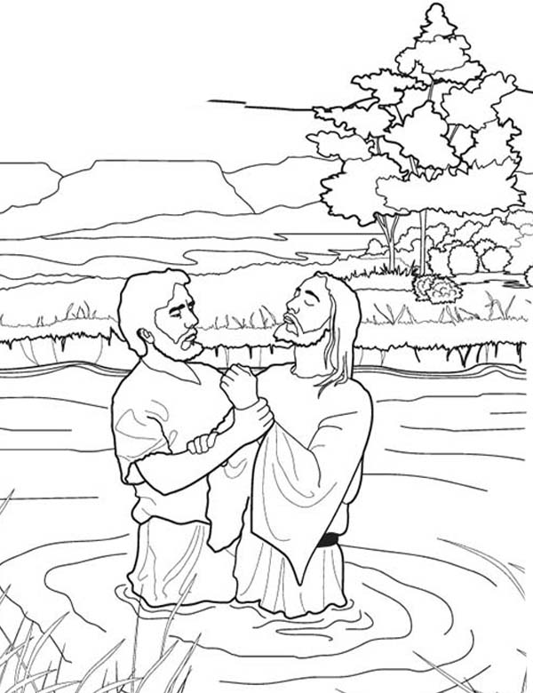 John Baptist Jesus In The River Coloring Page