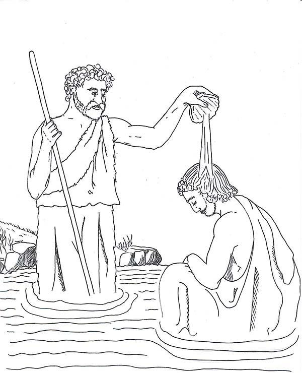 John Pour Some Water Into Jesus Head In The Baptist Coloring Page