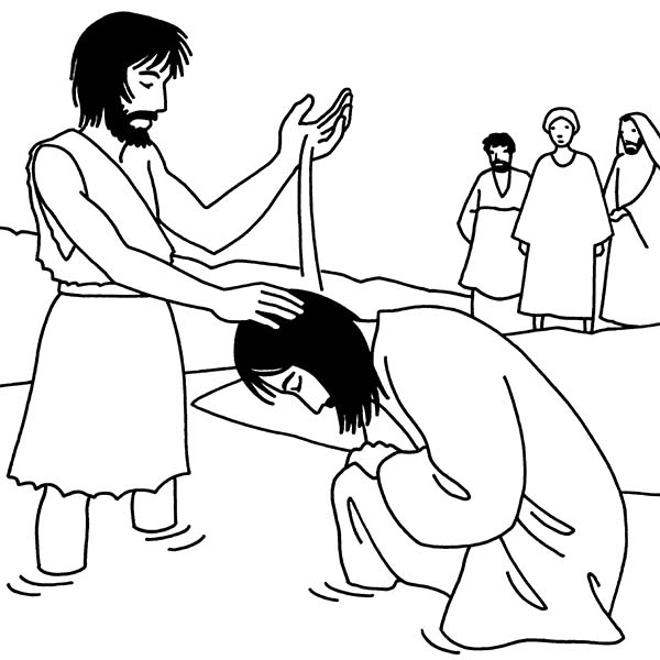John Pouring Water Into Jesus Head In The Baptist Coloring Page