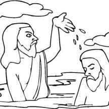 John Splashing Water to Jesus Head in John the Baptist Coloring Page