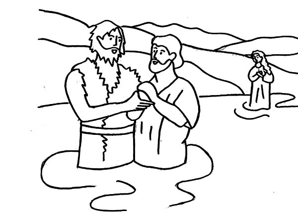 John the Baptist Hold Jesus Hand Coloring Page  NetArt