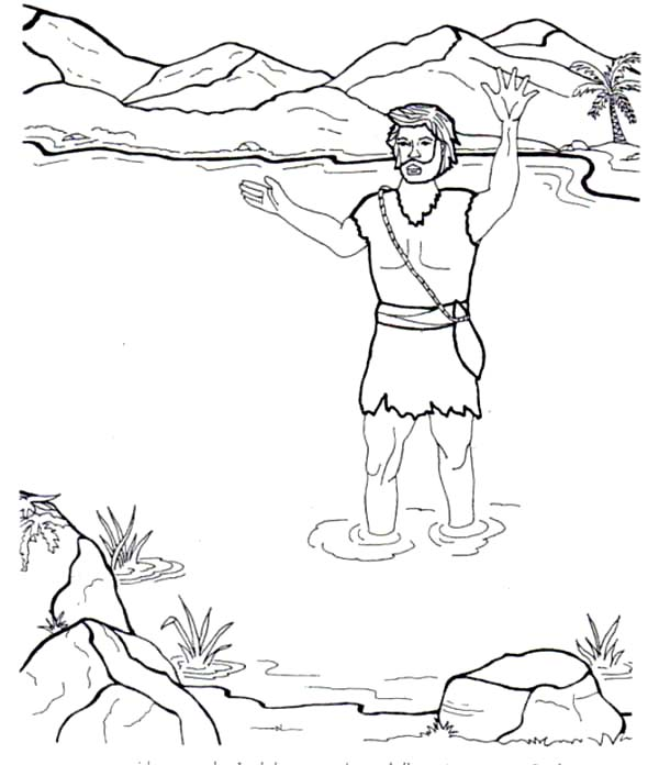 John The Baptist In River Coloring Page