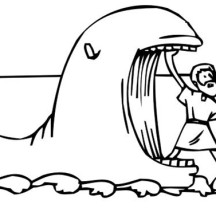 Jonah Came Out from Whale Mouth in Jonah and the Whale Coloring Page