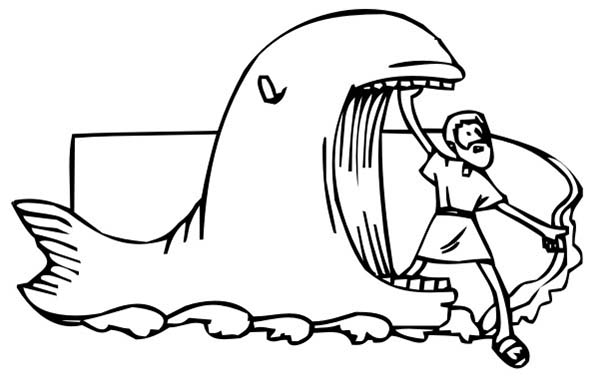 Jonah Came Out From Whale Mouth In And The Coloring Page