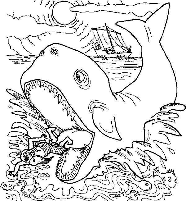 jonah get out from whale stomach in jonah and the whale coloring ... - Jonah Whale Coloring Page