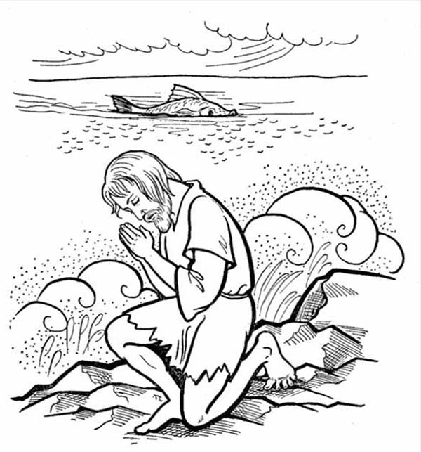 Jonah Praying To God After Being Swallowed By Whale In And The Coloring Page