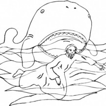 Jonah Swim in Front of a Whale in Jonah and the Whale Coloring Page