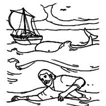 Jonah Swim to Shore in Jonah and the Whale Coloring Page