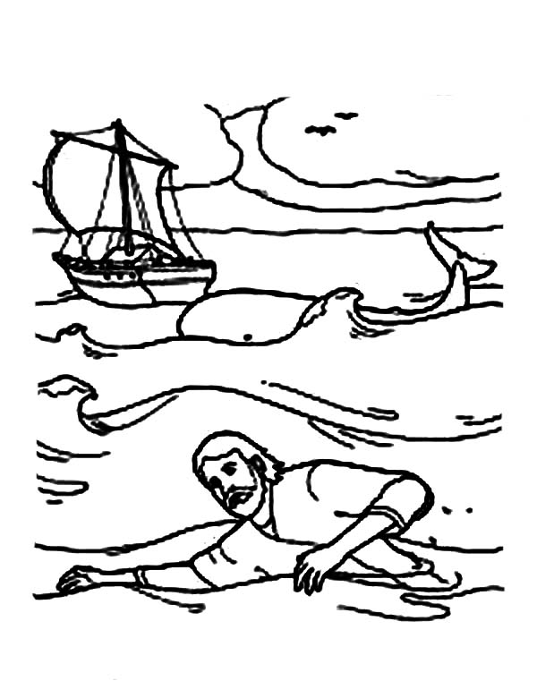 jonah swim to shore in jonah and the whale coloring page - netart - Jonah Whale Coloring Page