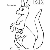 Kangaroo Carrying Baby Kangaroo Coloring Page