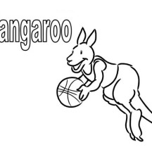 Kangaroo Playing Basketball Coloring Page