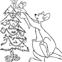 Kangaroo Put Her Baby on Top of Christmas Tree Coloring Page