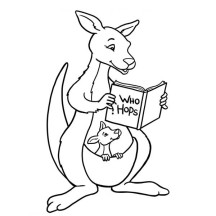 Kangaroo and Baby Kangaroo Reading a Book Coloring Page