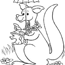 Kangaroo and Baby Kangaroo with Beautiful Umbrella Coloring Page