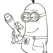 Kevin the Minion and Laser Gun in Despicable Me Coloring Page