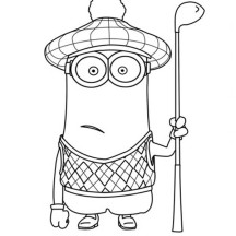 Kevin the Minion as Golf Player in Despicable Me Coloring Page