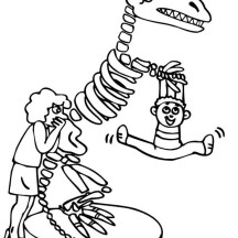 Kid Hang Out at Dinosaur Skeleton Coloring Page