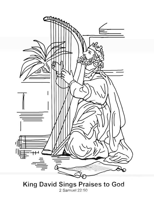 King David Sings Praises to God in the Story of King Saul Coloring