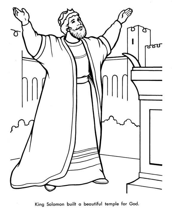 King Solomon Built A Beautiful Temple Fro God Coloring Page Netart King Solomon Coloring Pages