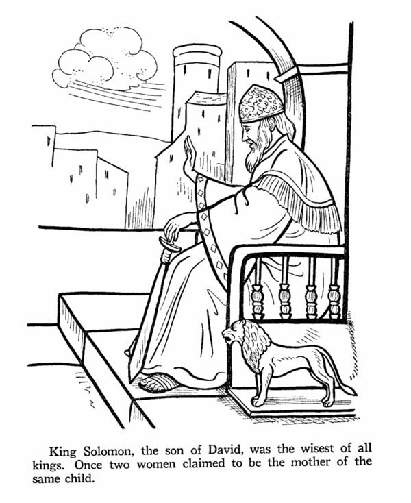 King Solomon Was The Wisest Of All In Story Saul Coloring Page