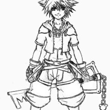 Kingdom Hearts Character Sora Coloring Page