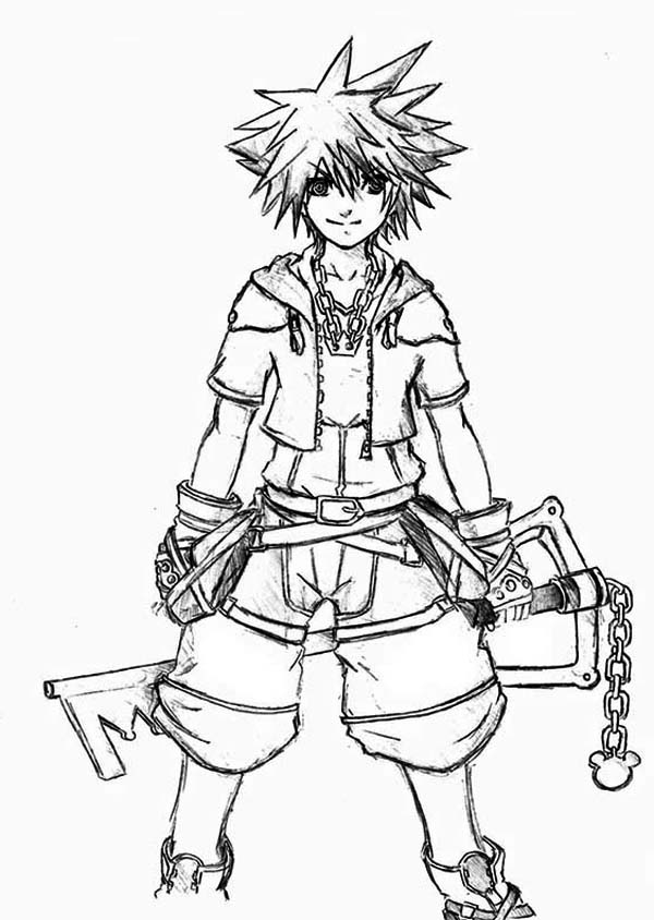 kingdom hearts character sora coloring page - Coloring Pages Hearts 2