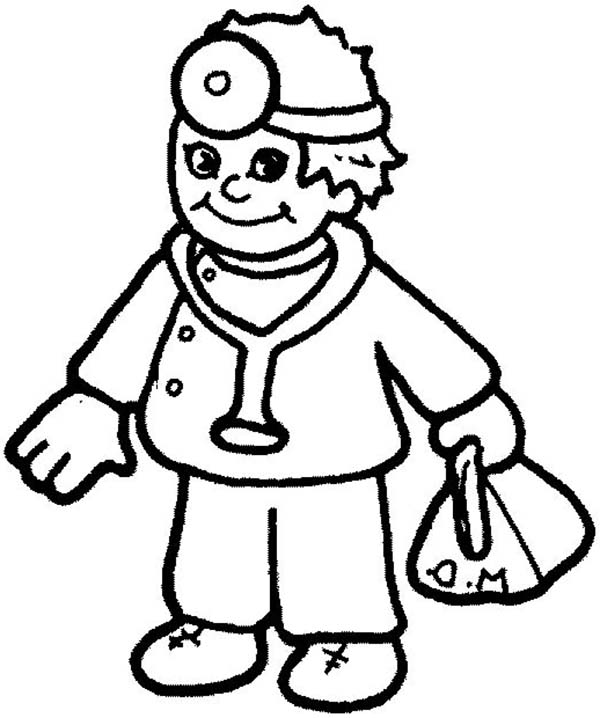 Little Doctor In Community Helpers Coloring Page