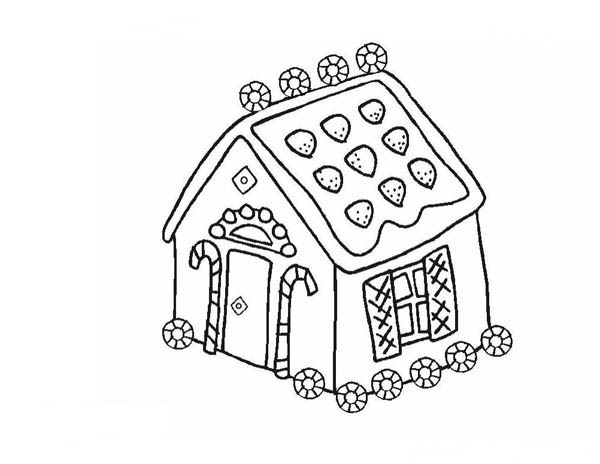 Little Gingerbread House Coloring Page