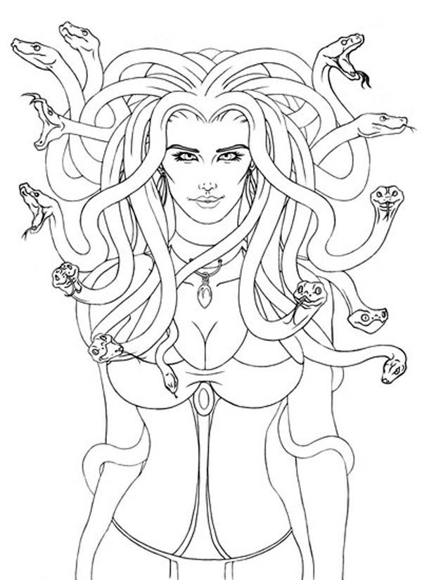 Lovely Picture of Medusa Coloring Page - NetArt
