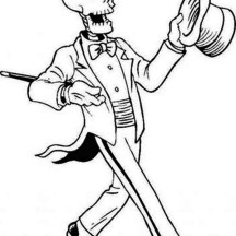 Magician Skeleton on the Show Coloring Page