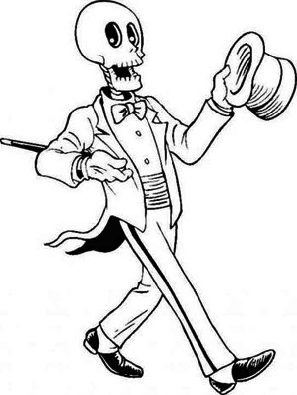 Magician skeleton on the show coloring page netart for Skeleton coloring pages