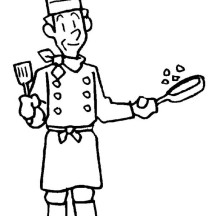 Master Chef in Community Helpers Coloring Page