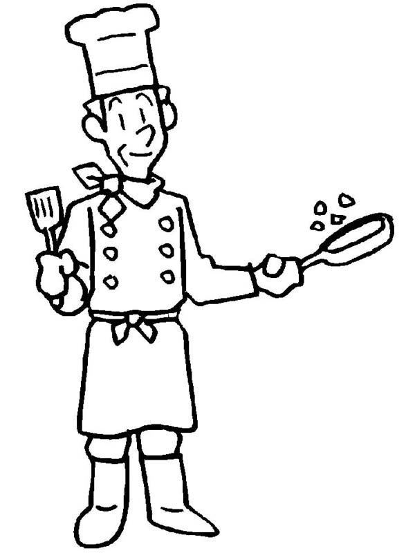 Master Chef in Community Helpers Coloring Page NetArt