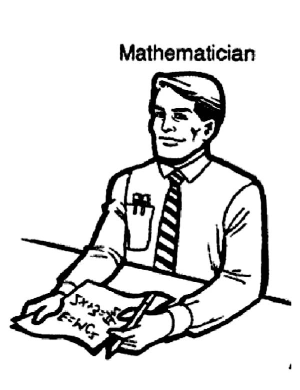 Mathematician as One of Community Helpers Coloring Page