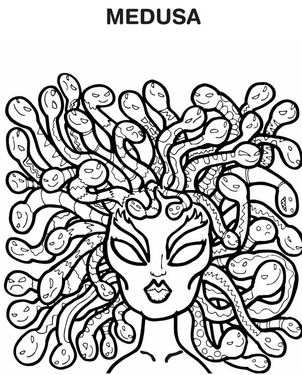 medusa hairs of snake coloring page