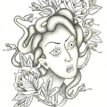 Medusa Head and Roses Coloring Page