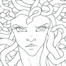 Medusa Staring Eyes Coloring Page