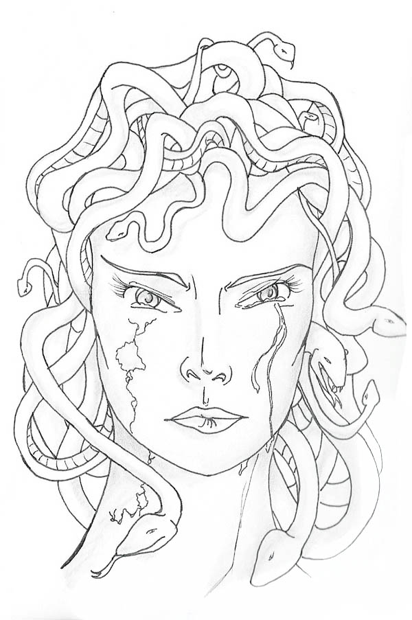 Medusa Turned into Stone Coloring Page