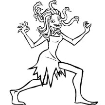 Medusa Walking Around Coloring Page