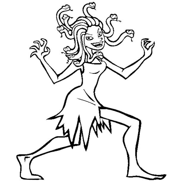 Medusa Walking Around Coloring Page - NetArt