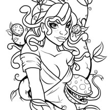Medusa and Poisonous Plant Coloring Page