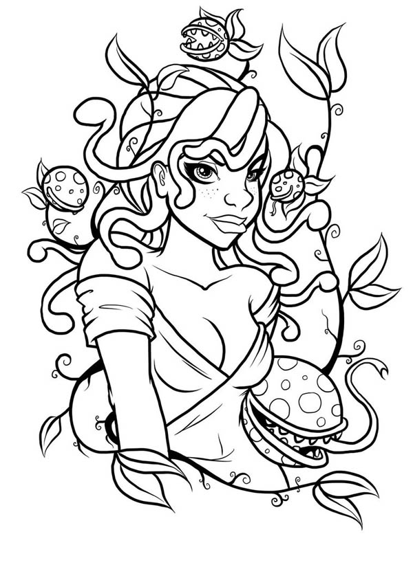 Medusa and Poisonous Plant Coloring Page - NetArt