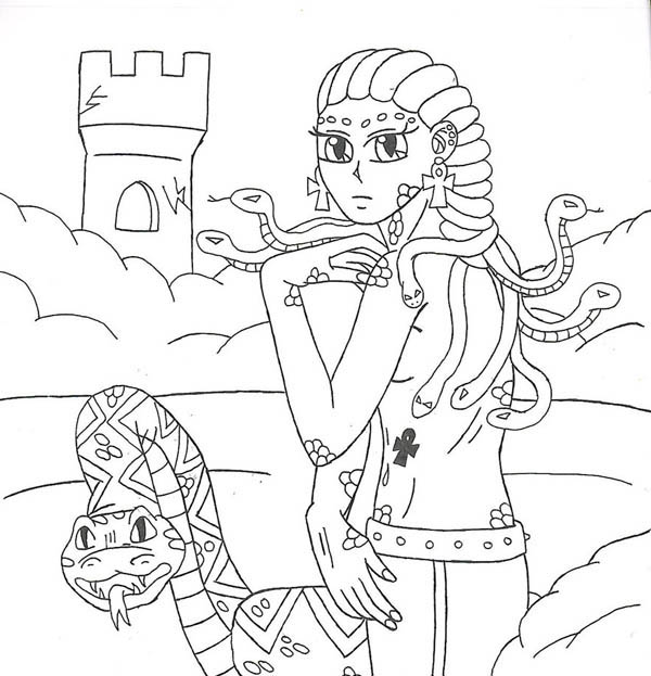 Medusa in the castle coloring page netart for Medusa coloring pages