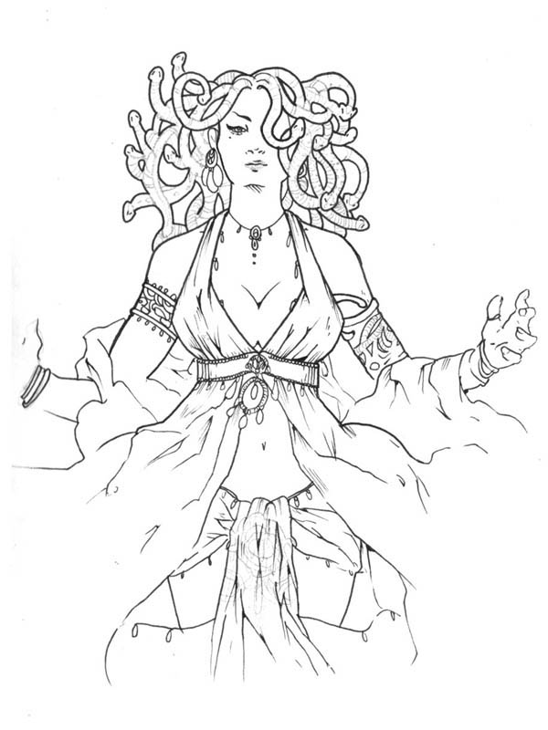 Medusa is a Beautiful Lady Coloring Page NetArt