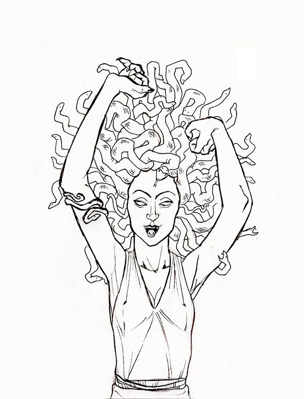 medusa the gorgon pulled her snake hair coloring page