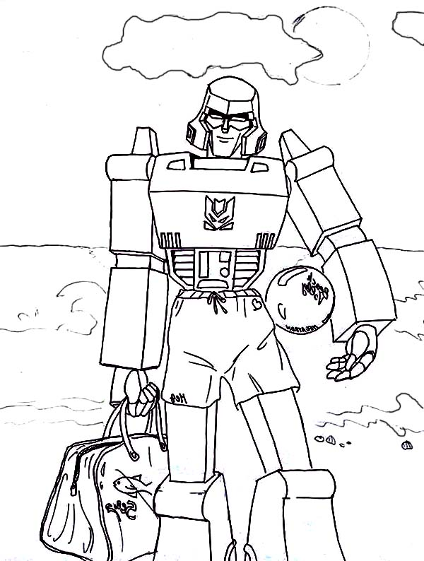 Megatron Playing Ball on the Beach Coloring Page