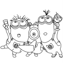 Minions Partying in Despicable Me Coloring Page