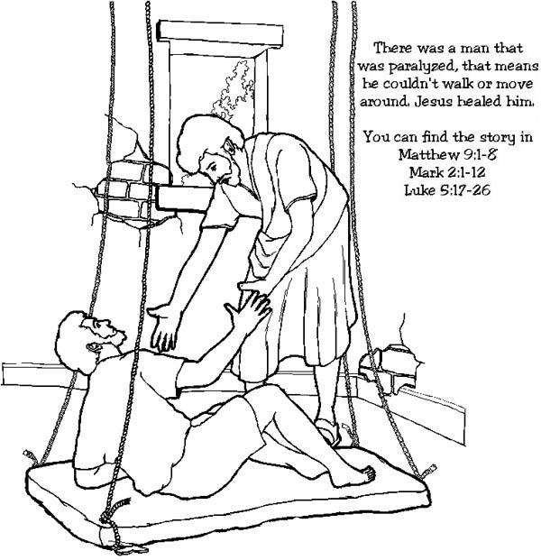 Miracles of Jesus Healed Paralyzed Man Coloring Page NetArt