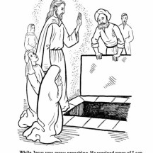 Miracles of Jesus Returning Bethany and Raised Lazarus from the Dead Coloring Page