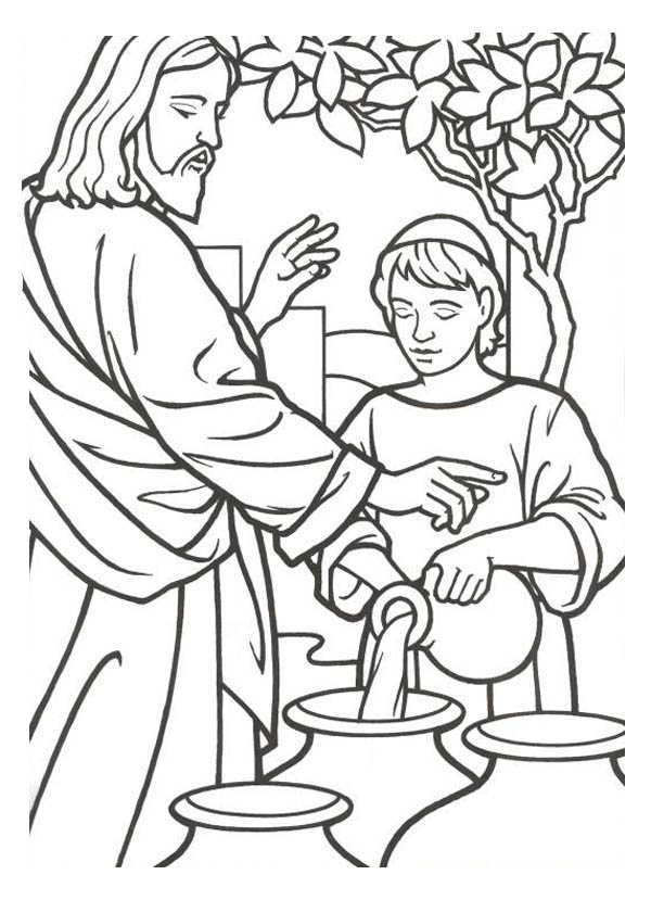 miracles of jesus is turn water into wine coloring page - Turn A Photo A Coloring Page